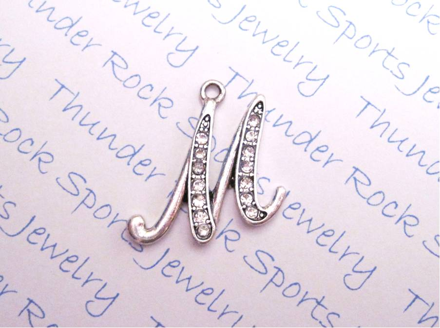 3 Letter M Charms Crystal Alphabet Silver Pendants