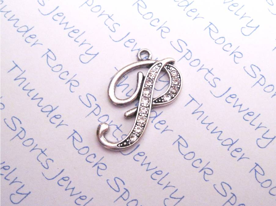 3 Letter P Charms Crystal Alphabet Silver Pendants