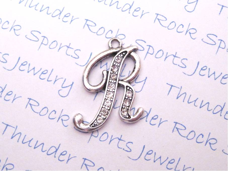 Letter R Charm Crystal Alphabet Silver Pendant