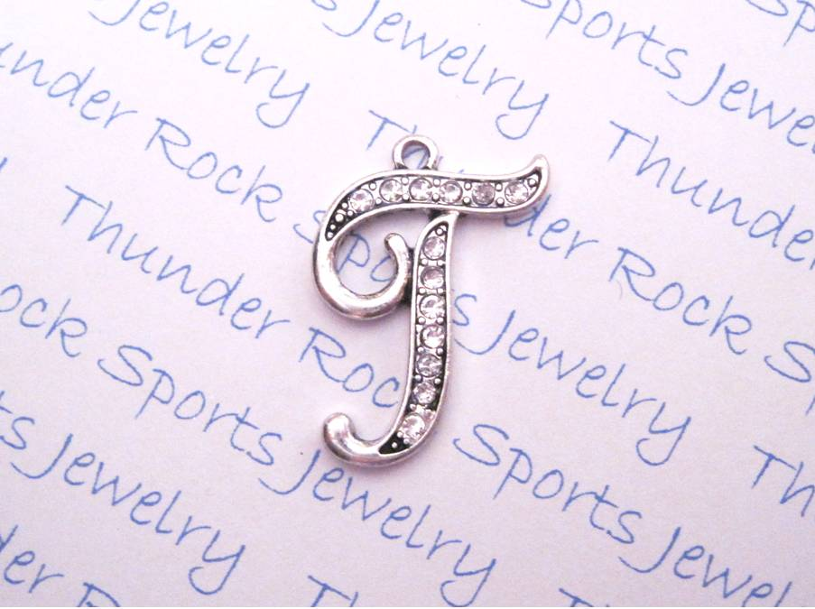 Letter T Charm Crystal Alphabet Silver Pendant