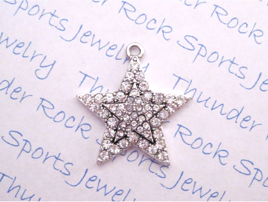 3 Star Charms Crystal Silver Pendants