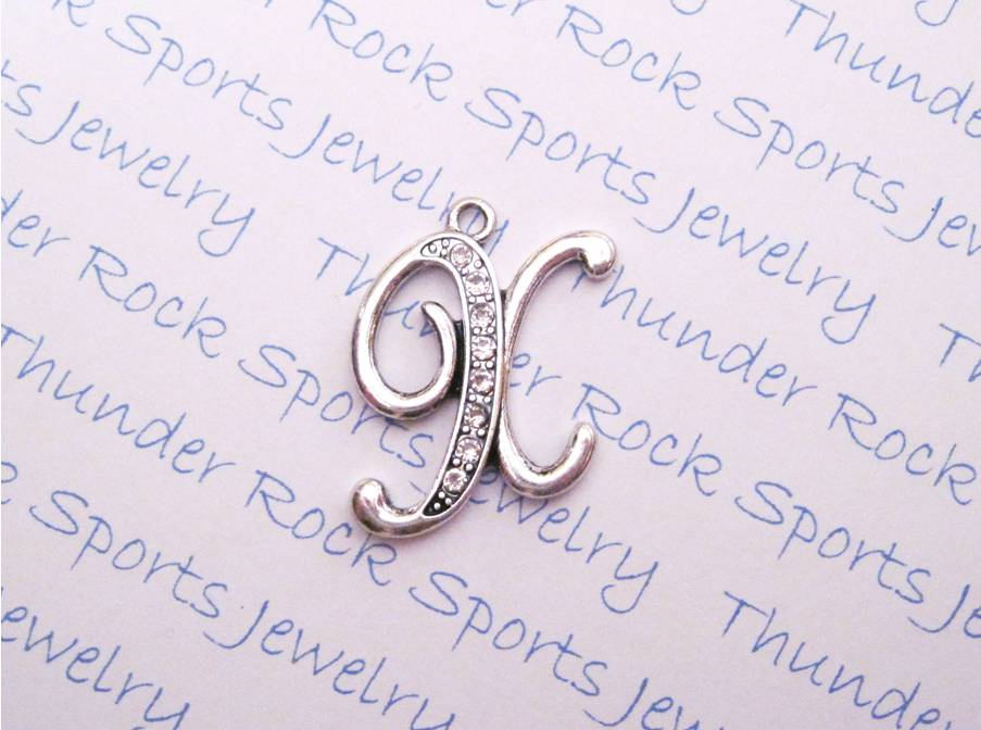 Letter X Charm Crystal Alphabet Silver Pendant