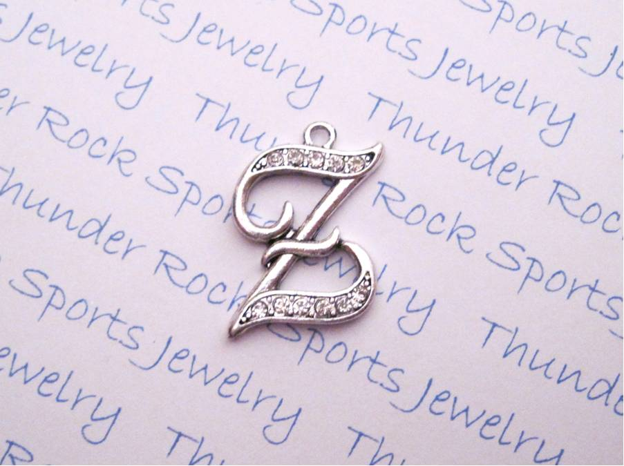 3 Letter Z Charms Crystal Alphabet Silver Pendants
