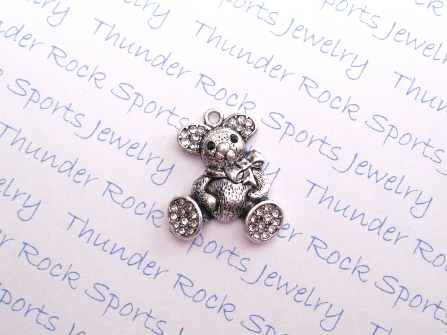 3 Teddy Bear Charms Crystal Silver Pendants