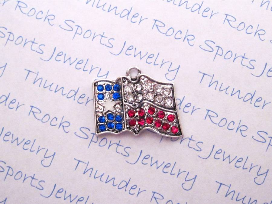 3 Texas Flag Charms Crystal Silver Pendants