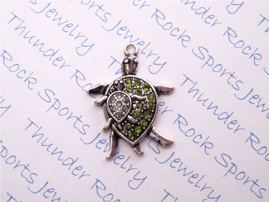 3 Turtles Charms Green Crystal Silver Pendants