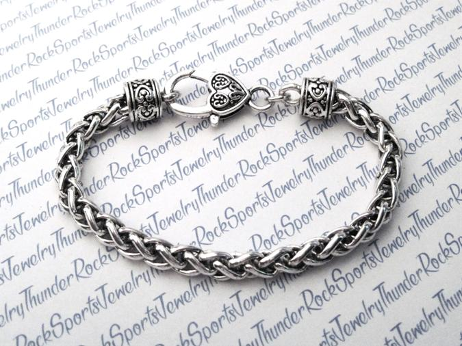 Silver Wheat Bracelet with Large Clasp