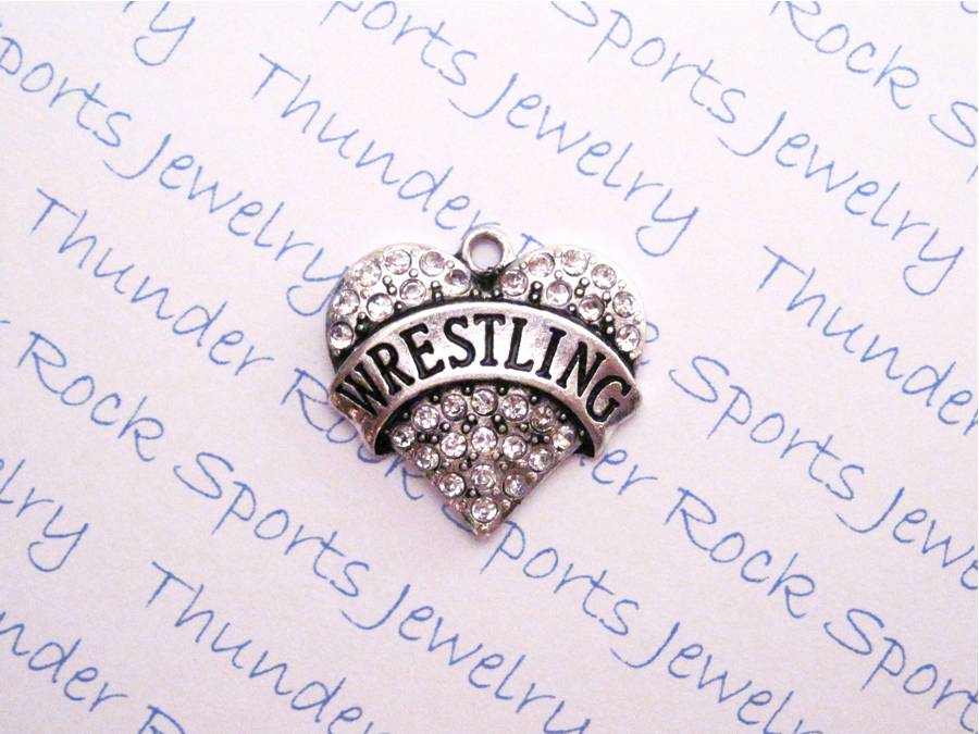 3 Wrestling Charms Crystal Silver Heart Pendants