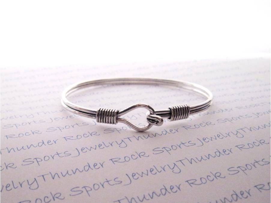 Platinum Silver Bangle Bracelet Blank with Hook Closure