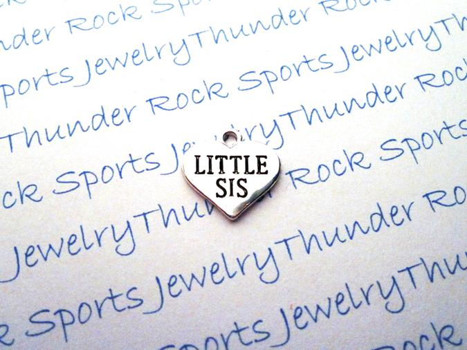 3 Little Sis Silver Heart Charms
