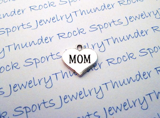 3 Mom Silver Heart Charms