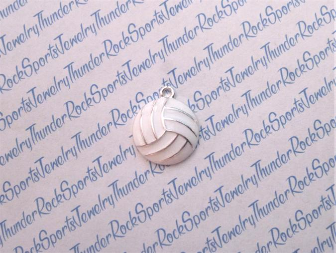 3 Volleyball Enamel Silver Charms