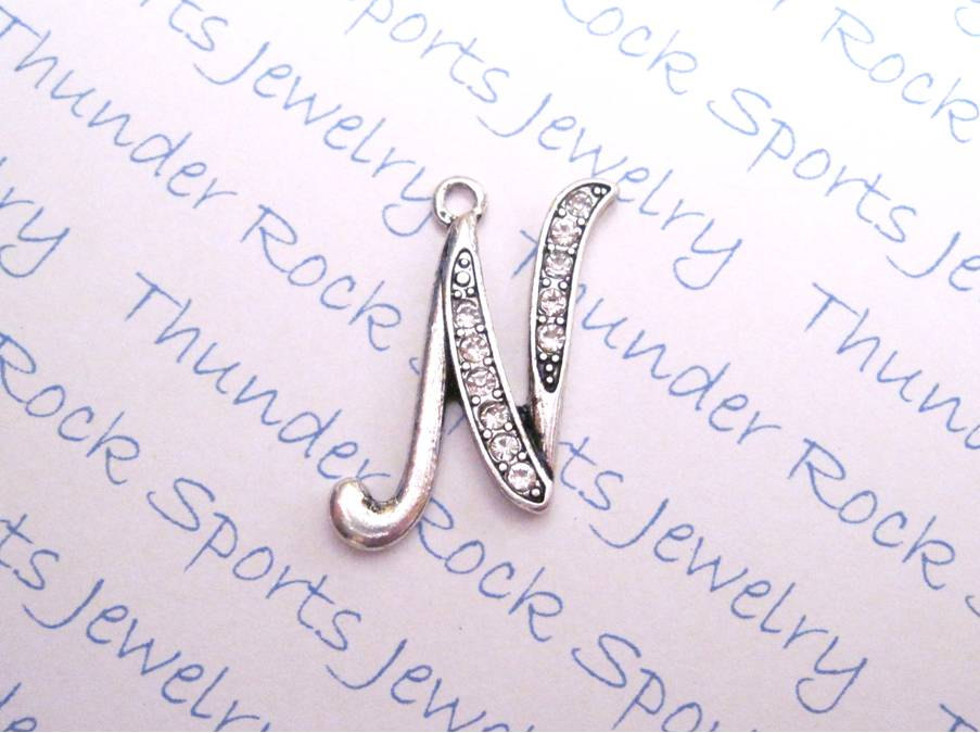 3 Letter N Charms Crystal Alphabet Silver Pendants
